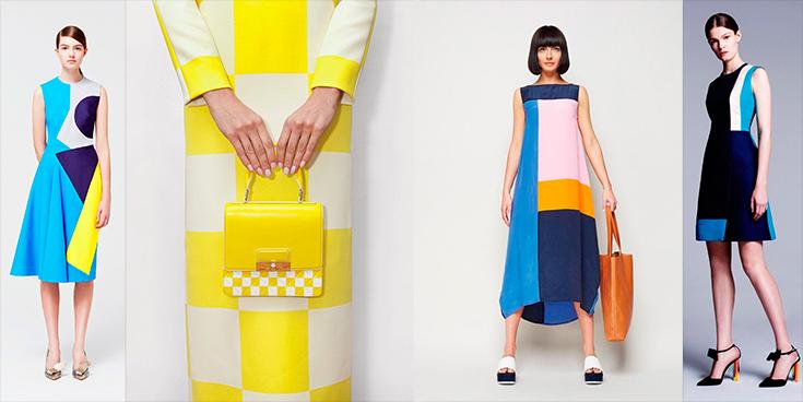 Color block - modelos usando vestidos com blocos de cores e bolsas femininas de couro.