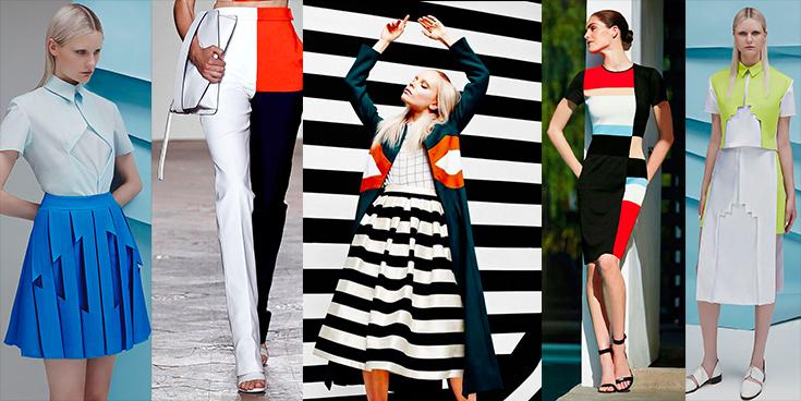 Color block - modelos usando vestidos com blocos de cores.