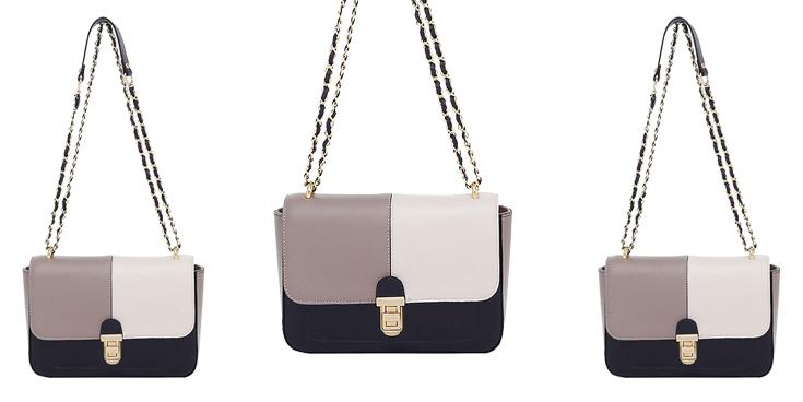 Bolsa Couro Smartbag Tricolor Off White/Preto/Taupe