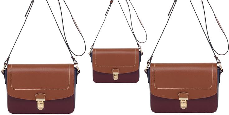 Bolsa Couro Smartbag Transversal Bordô/Whisky/Marinho