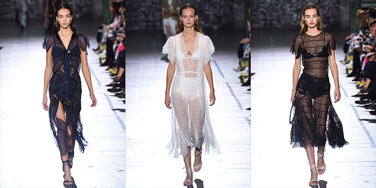 Modelos usando Roupas femininas com transparência.