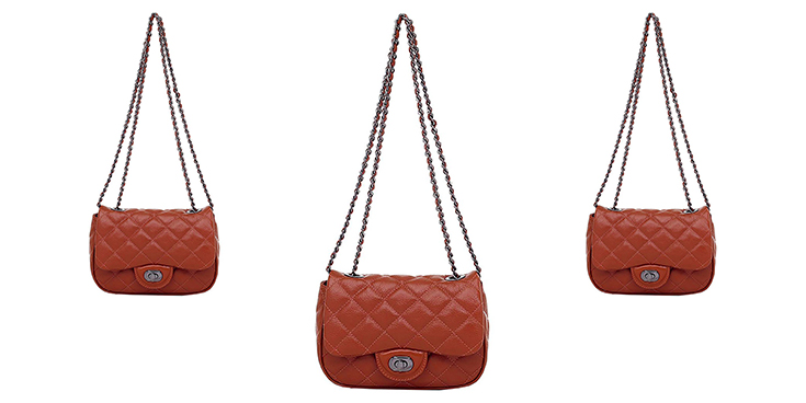 Bolsinha Feminina de Couro Smartbag em couro na cor whisky e tons torrosos.