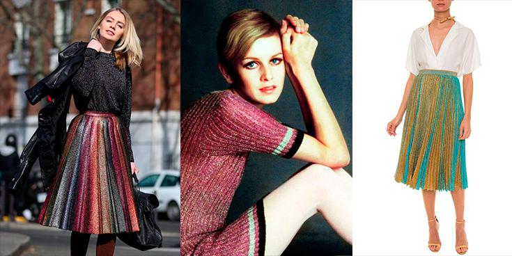 Modelos utilizando looks com lurex para a temporada mais fria do ano.