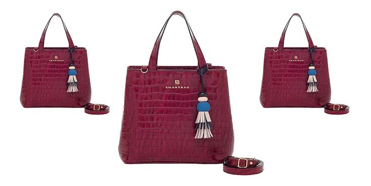 Bolsa de Couro Feminina Smartbag croco italy na cor bordô.