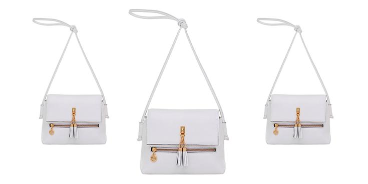 bolsa de couro branca smartbag com pingente