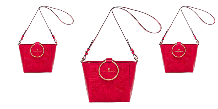 bolsa de couro vermelha smartbag