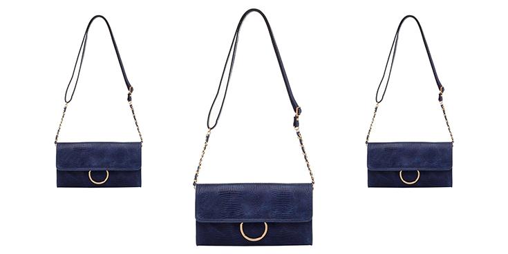 bolsa de couro azul smartbag
