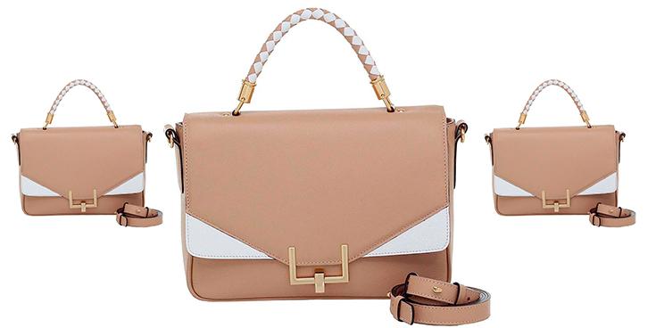bolsa smartbag couro alça de mão areia branco